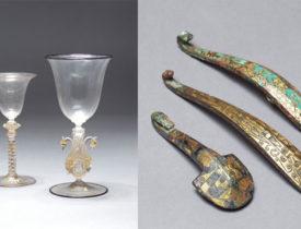 (左)西洋のガラス器(右)中国の帯鉤