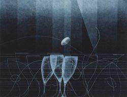 二見彰一《青のトリオ》1990 年 アクワチント・紙