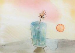 清宮質文 《夕日とコップと草の実》-制作年不詳-ガラス絵-個人蔵-【通期展示】